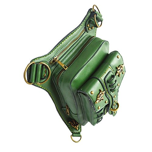 de bolsillos viaje Bolsas bolso vendimia los punky alta de Green la las de funciones de cintura de múltiples de mujeres PU la de material de la de calidad punk del BrBq7P