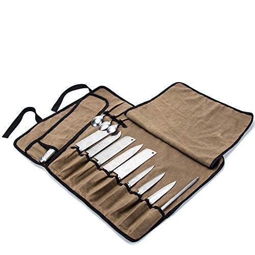 (Chef's Knife Roll Bag Multi-Purpose Chefs Knife Case Waterproof Waxed Canvas Cooks Tool Storage Bags, Versatile Cutlery Knives Holders with 13 Pockets and Sholder Strap CYGJB345-A)