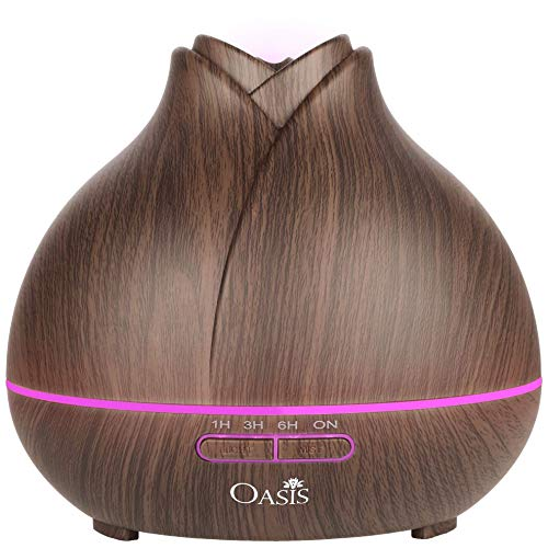 Luxury Essential Oil Diffuser (400ml) - Best Rated Aromatherapy Diffuser - Cool Mist Humidifier with Adjustable Mist Mode and 7 Color Changing LED Lights - Auto Shut-Off Ultrasonic Humidifier