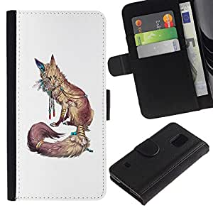 All Phone Most Case / Oferta Especial Cáscara Funda de cuero Monedero Cubierta de proteccion Caso / Wallet Case for Samsung Galaxy S5 V SM-G900 // White Nature Animal Red Minimalist