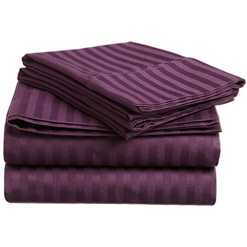 Superior 300 Thread Count 100% Premium Combed Cotton, 4-Piece Bed Sheet Set, Deep Pocket, Single Ply, Sateen Stripe, King - Plum