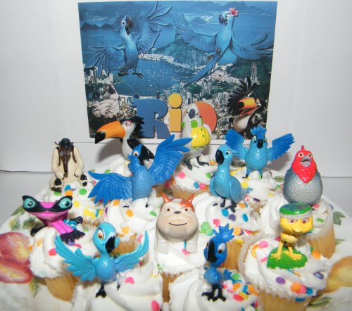 Rio Movie Set of 12 Bird Figure Cake Toppers / Cupcake Decorations Party Favors with Blu, Jewel, the 3 Kids, Luiz, Nigel and New Characters Gabi, Charlie and More! (Jewel Rio From 2)