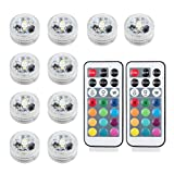 Justech 10pcs SMD5050 RGB Submersible LED Light CR2032 Battery with Remote Control Aquarium and Party Decoration