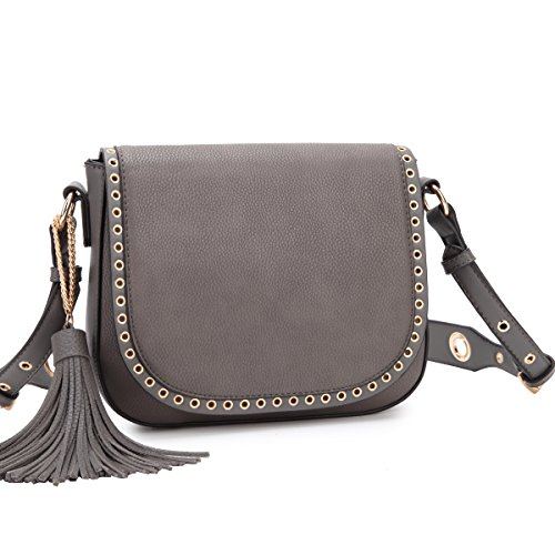 Dasein Women Grommets Crossbody Messenger Bags Designer Saddle Bags Shoulder Bags w/ Adjustable Strap (14-7368 (Saddle Flap Handbag)