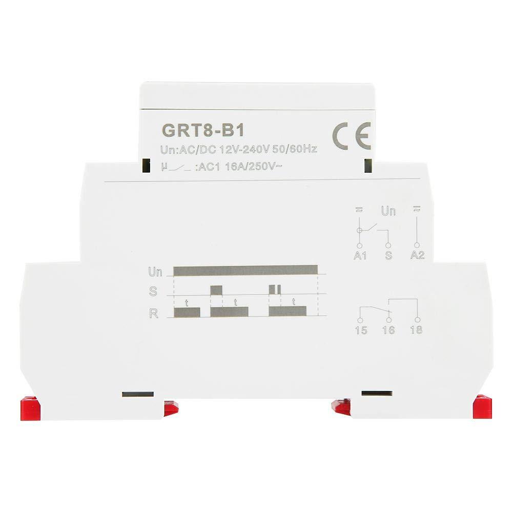 GRT8-B1 Relais f/ür Ausschaltverz/ögerung auf DIN-Schiene AC//DC 12V ~ 240V Relais f/ür Ausschaltverz/ögerung