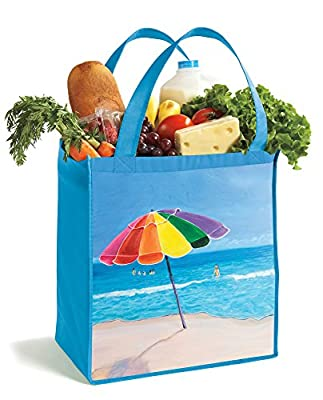 Shopping Totes - 3 Pack Reusable, Heavy Duty, Reinforced, Convenient Size, Easy to Clean, Colorful Beach Themed Design, Eco-Friendly while Looking Good