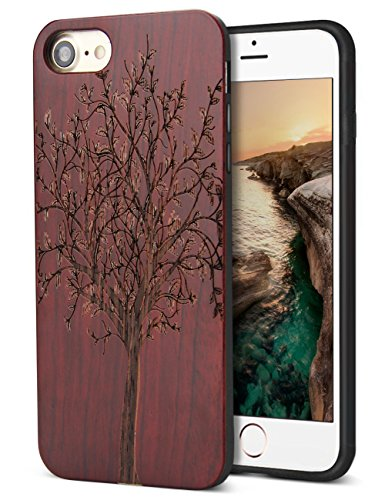 YFWOOD Compatible for iPhone 7/8 Wood Case, Real Wood Engraving Tree Soft Rubber Cushion Shock Absorption Flexible Anti-Scratch Bumper Protective for iPhone 7/8 Case ()