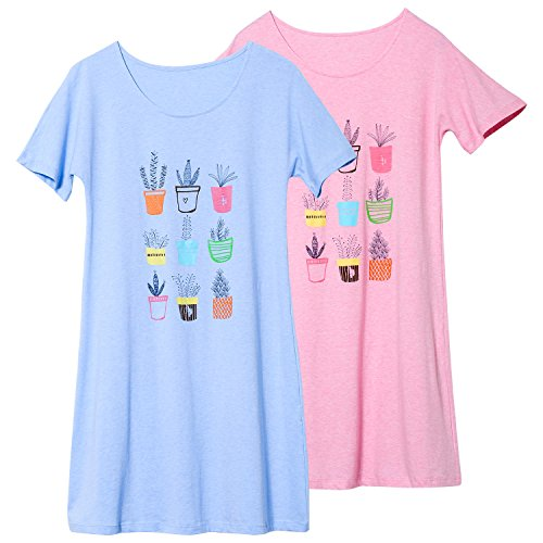 Jashe Big Girls 95% Cotton Blue & Pink Nightgowns 2Pack Super Soft Cute Kids Pajama Sleeveless Clothes
