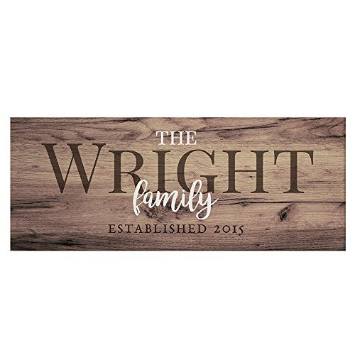 "GiftsForYouNow Rustic Family Established Personalized Canvas, 8"" x 20"" - Custom Wall Decor"