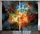 Cheap Ambesonne Space Decorations Curtains 2 Panel Set by, Princess Nebula Gas Expanse Outer Space Universe Matters in Astral Zone Print, Living Room Bedroom Decor, 108 W X 84 L Inches Navy Orange Teal