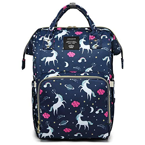(LEQUEEN Diaper Bag Multi-Function Baby Diaper Backpack Nappy Bags, Mom Dad Travel Backpack Large Capacity Baby Bags with Unicorn Printing)