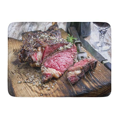Emvency Bath Mat Angus Brown Beef Barbecue Dry Aged Wagyu Tomahawk Steak As Close Up on Cutting Board Red American Bathroom Decor Rug 16