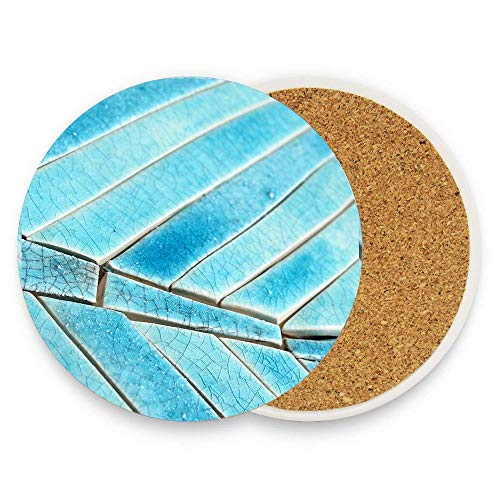 Turquoise Seabreeze Mosaic Coasters without Holder Pack of 1,Coasters for Drinks,Funny Housewarming Gift,Round Cup Mat Pad ()