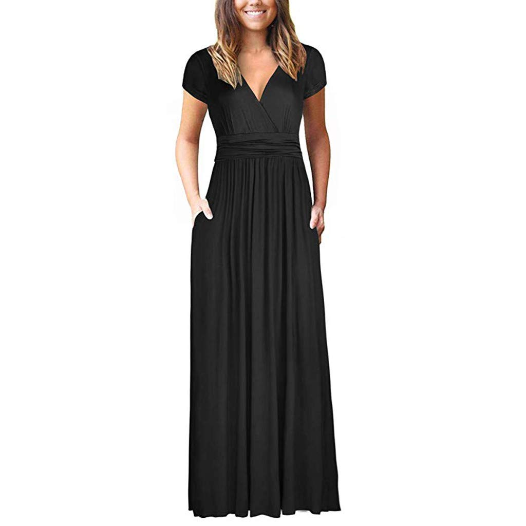 Respctful✿Women Summer Dress Short Sleeve Striped Chiffon Maxi Dresses Sexy V Neck Evening Cocktail Party Long Dress Black by Respctful Women's Clothing (Image #1)