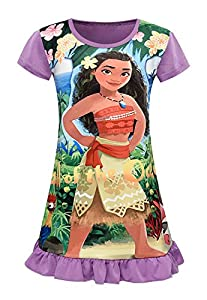 AOVCLKID Moana Comfy Loose Fit Pajamas Girls Printed Princess Dress (Purple,120/4-5Y)