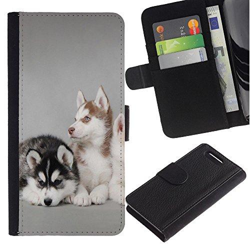 LASTONE PHONE CASE / Lujo Billetera de Cuero Caso del tirón Titular de la tarjeta Flip Carcasa Funda para Sony Xperia Z1 Compact D5503 / Husky Siberian Dogs Grey Pack