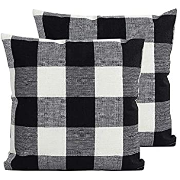 TEALP Buffalo Check Throw Pillow Cover Decorative Square Pillowcase 24x24 inch,Black and White Plaid Check,2 Pack
