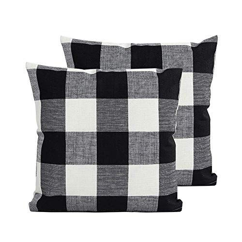 (TEALP Buffalo Plaid Pillow Cover Decorative Square Pillowcase 16x16 inch,Black and White Plaid Check,2 Pack )