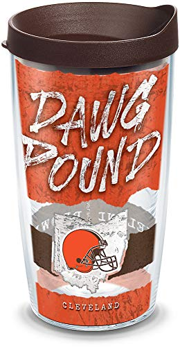 (Tervis 1319586 NFL Cleveland Browns Statement Insulated Tumbler with Wrap Lid, 16 oz, Clear)