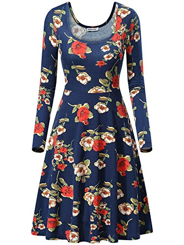 MSBASIC Midi Dresses For Women, Comfy Floral Swing Midi Dresss For Women (Large, Floral-5) (Dress Polyester Womens)