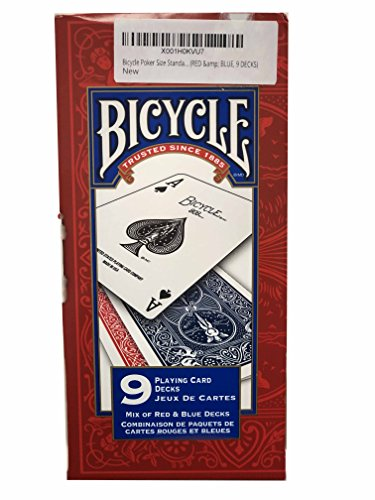 Bicycle Poker Size Standard Index Playing Cards (RED & BLUE, 9 DECKS) (Cool Playing Card Decks)