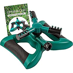 Water Sprinkler System - Lawn Garden Sprinkler Head - Outdoor Automatic Sprinklers for Lawn Irrigation System Kids - Three Arm High Impact Sprinkler System - Up to 3600 Square Feet