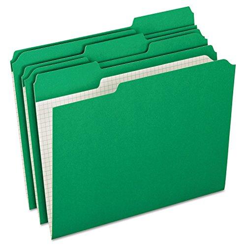 Pendaflex R15213BGR Reinforced Top Tab File Folders, 1/3 Cut, Letter, Green, 100/Box