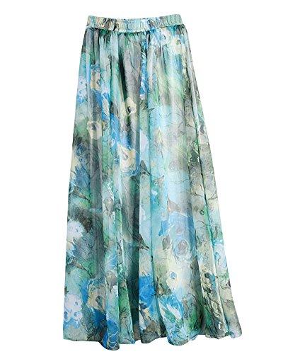 Mujeres Falda Larga Cintura Gasa Elástico Estampado De Flores Floral Playa Maxi Falda Verde