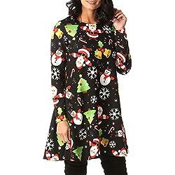Women's Vintage Christmas Stitching Santa Dresses Evening Party A-Line Dress Loose Party Swing Dress HunYUN