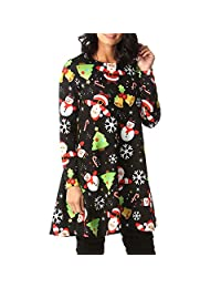 Women's Christmas Dress, Xmas Printed A-Line Loose T-Shirt Tunic Dresses