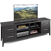 CorLiving TJK-602-B Jackson Extra Wide TV Bench, 80, Black Wood Grain