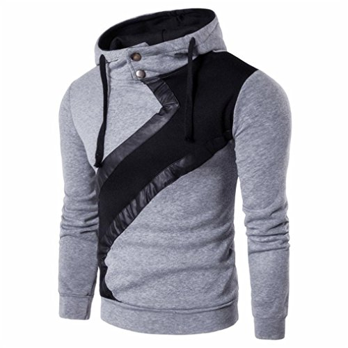 YANG-YI Men Long Sleeve Hoodie Sweatshirt Casual Slim Hoodie Sportswear (L, Grey) by YANG-YI Mens