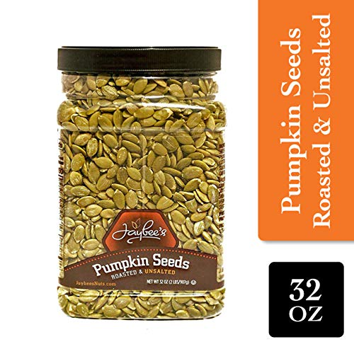 Jaybee's Nuts Pumpkin Seeds Pepitas - Roasted Unsalted (2 LBS) Fresh, Vegetarian Friendly & Kosher Certified -Great Healthy Everyday Snack - Reusable Container