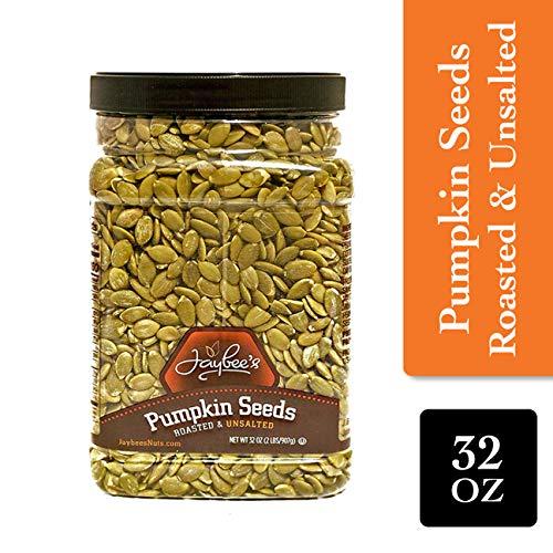 Jaybee's Nuts Pumpkin Seeds Pepitas - Roasted Unsalted (2 LBS) Fresh, Vegetarian Friendly & Kosher Certified -Great Healthy Everyday Snack - Reusable Container (Roast Seeds Pumpkin)