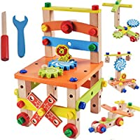 Akrobo Wooden Multifunctional Assembling Disassembling Chair with Nut & Screw (Multicolour)