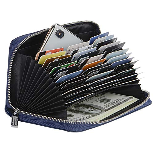 - Credit Card Wallet Soft Leather RFID Blocking Card holder Case Zipper Purse Handbag for Women or Men (Navy Blue)