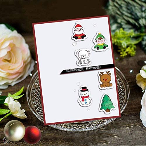 LZBRDY 6.5 by 8.9 Inch Snow House Christmas Tree Snowman Clear Stamp and Die Set for Scrapbooking Card Making Skating Kids Flower Decorations Silicone Stamps and Dies