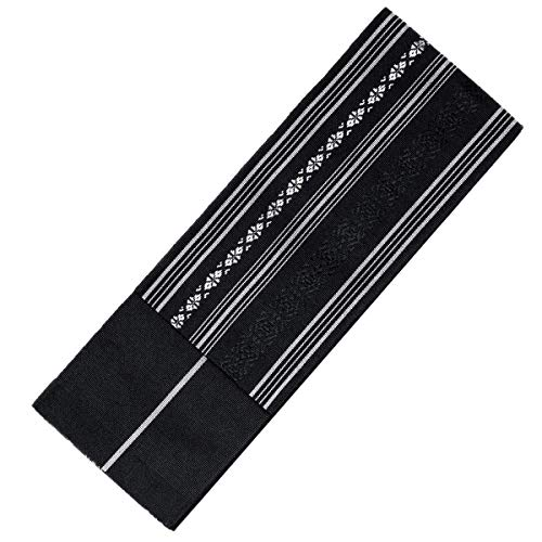 (KYOETSU Men's Japanese Hakata Kaku Obi Kimono belt Silk (4,Black))