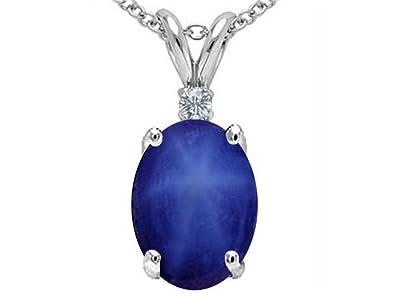 Amazon tommaso design oval created star sapphire pendant tommaso design oval created star sapphire pendant necklace 14 kt white gold mozeypictures Choice Image