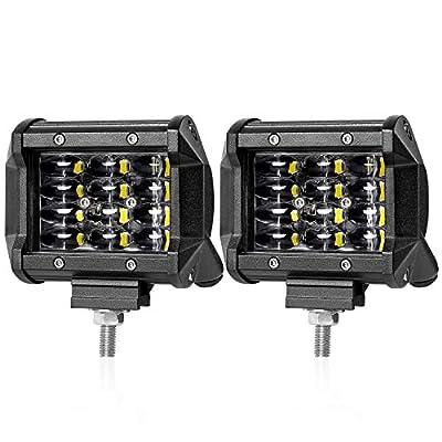LED Pods, Wayup 2Pcs 4 Inch 72W Quad Row LED Cubes Light OSRAM Off Road Work Light Flood Beam LED Driving Lights Waterproof Fog Light for Trucks Jeep Bumper ATV UTV Boat 4x4, 2 Years Warranty: Automotive