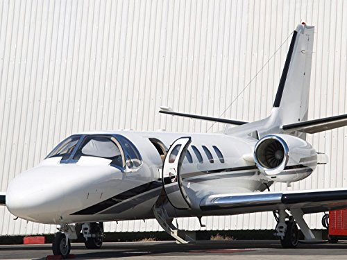 Private Jet 01 Wall Decal - 24 Inches W x 18 Inches H - Peel and Stick Removable Graphic