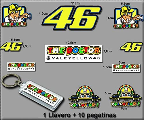 Model 7 Ecoshirt 6B-G6YX-DHCO Stickers and Keychain 46 Valentino Rossi The Doctor Am10 F Stickers and Key Ring Aufkleber Stickers Adesivi Decals