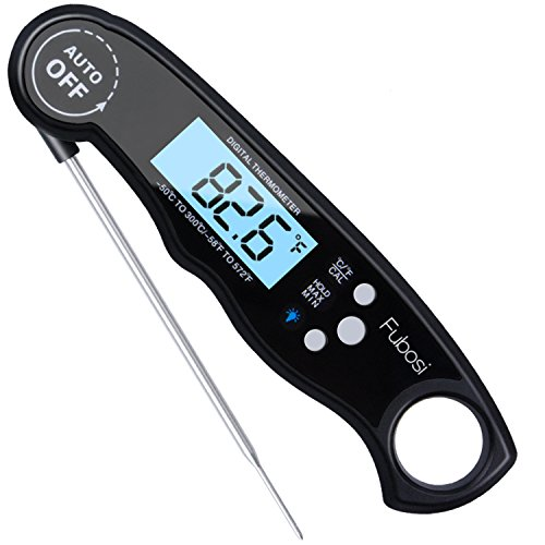 Fubosi Waterproof Digital Meat Thermometer Super Fast Instant Read Thermometer BBQ Thermometer with Calibration and Backlit Function Cooking Thermometer for Food, Candy, Milk, Tea, BBQ, Grill Smokers by Fubosi