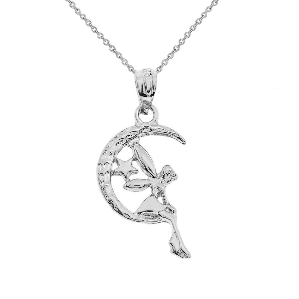CaliRoseJewelry Sterling Silver Tinkerbell Fairy Tale on The Moon Charm Pendant Necklace