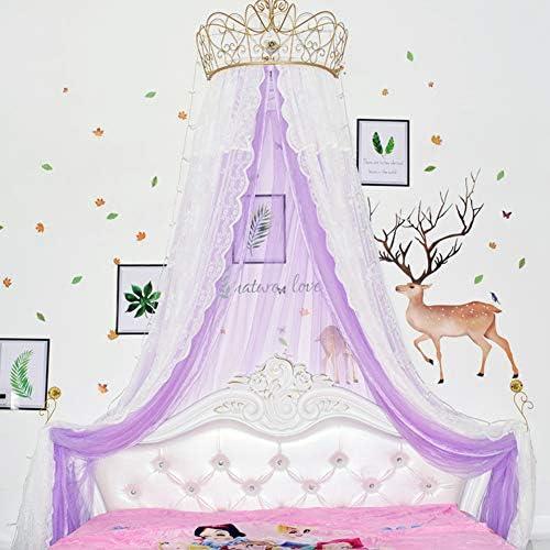 レースベッドキャノピー,皇太子妃 ダブル カラー ベッド カーテン 装飾的なドレープメタルクラウンと寝室のためのライトと裁判所の蚊帳-c