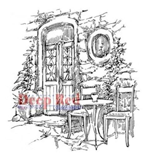 (ShopForAllYou Stamping & Embossing Stamp Dining Alfresco Table and Chairs Courtyard Scene)