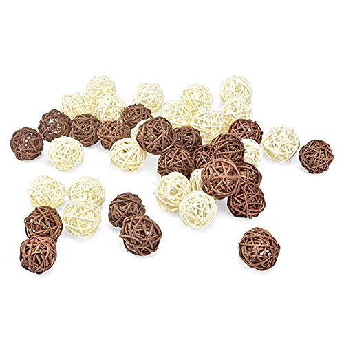 (ALLHEARTDESIRES 20PCS Brown White Wicker Cane Grapevine Ball Tabletop Christmas Tree Ornament DIY Craft Centerpieces Vase Filler Rustic Wedding Burlap Party Home Decoration)