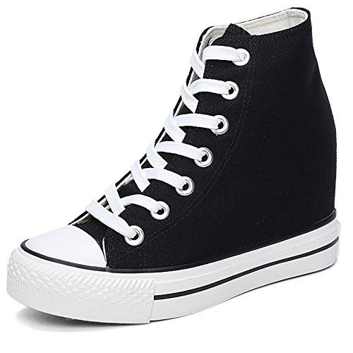 Odema Zapatillas de deporte de muy buen gusto de la lona del estilo de las mujeres de <br>                         <br>                              negro
