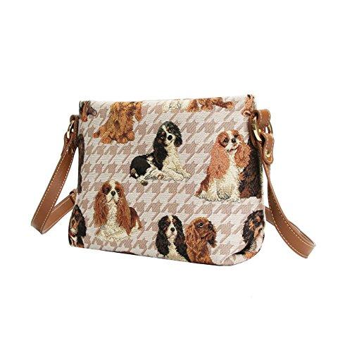 in Handbag Charles Shoulder Fashion Spaniel Cavalier Body Womens Dog Signare King Across Bag Tapestry 8qInp