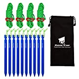 Geertop 10 Pack Aluminum Camping Tent Stakes Pegs and Rope + 4 Pack 4mm Reflactive Tent Guy Lines with Tensioner Ultralight Sturdy Tent Cord and Stake for Hiking Hunting Outdoor Activity Gold/Blue/Red